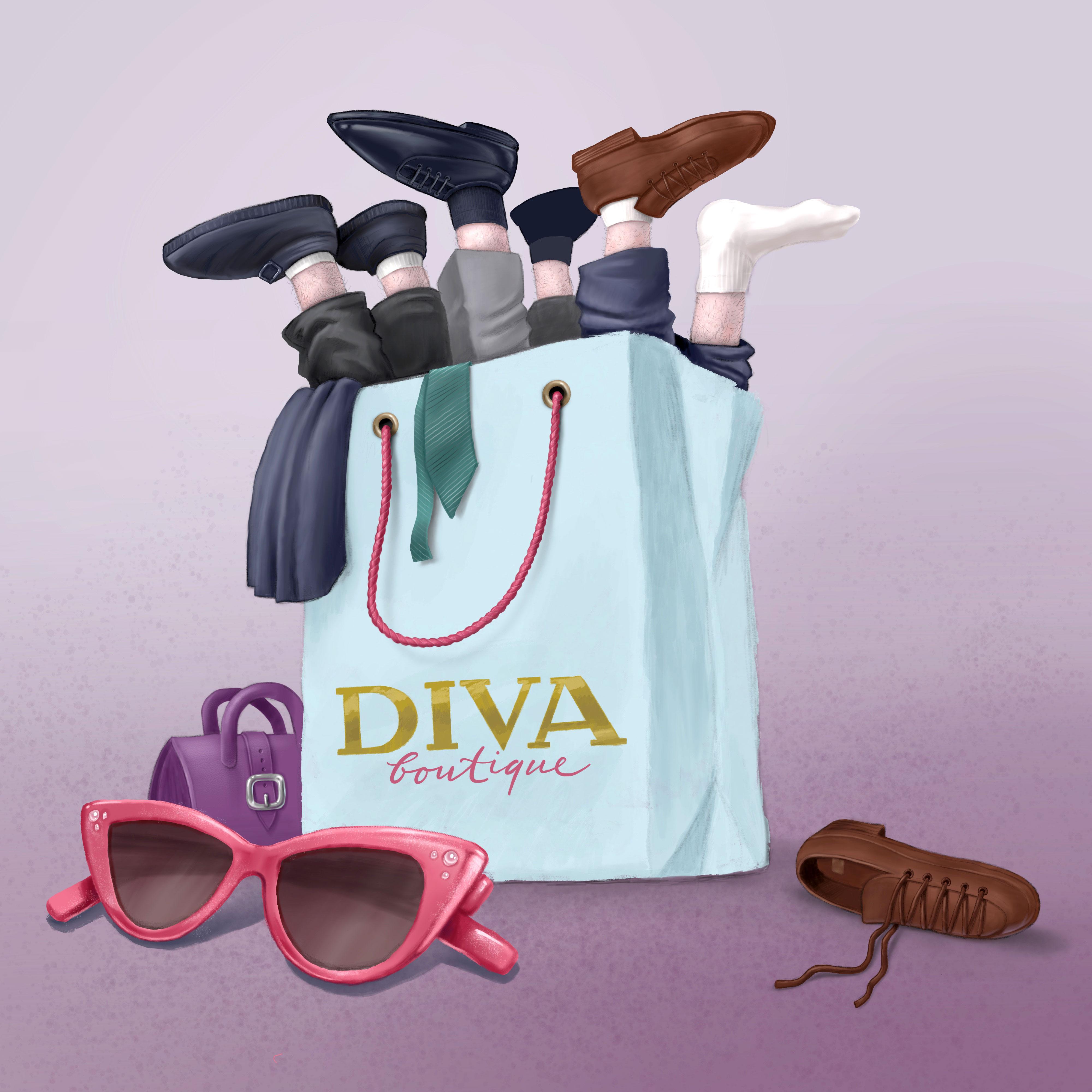 Illustration Diva Boutique Männerbeine in Einkaufstasche humorvoll erwachsenentypische Illustration digitaler Stil Procreate
