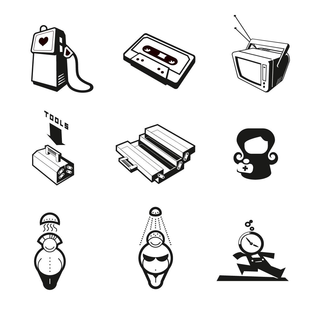 Icon schwarz und weiss, symbole, tv, cassette, werkzeugkasten