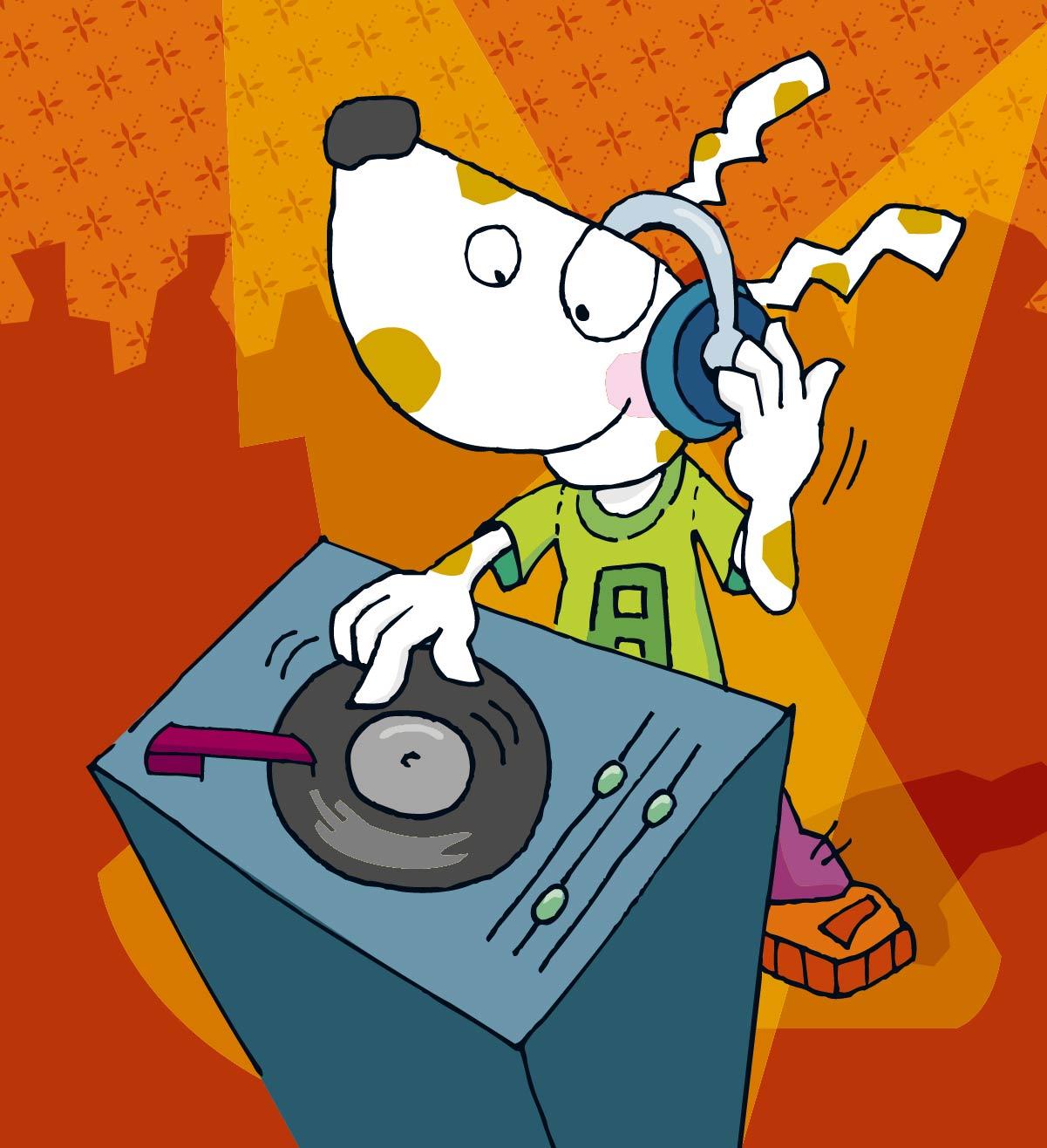 Handzeichnung Wiesbaden DJ Hund WI & You Stadtjugendamt Ferienangebot Kinder Comic coloriert bunt Programmheft
