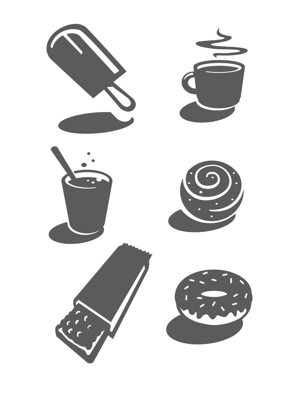 Monochrom, Vektorzeichnung Icons Essen Illustration Donut Snack Kaffee Tee Schokoriegel Symbole