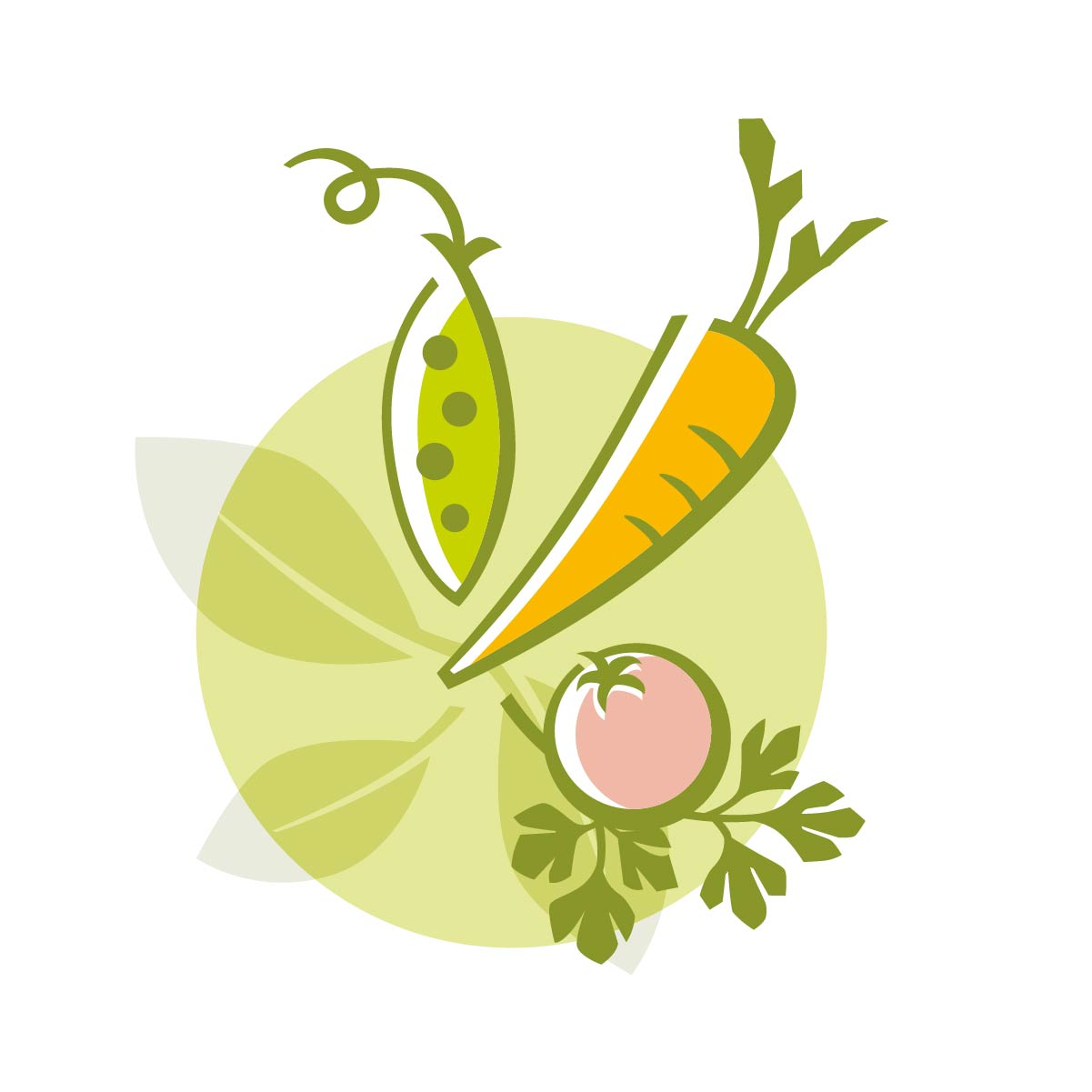 Teller Karotte Tomate Erbse Petersilie Illustrator Grafik Zeichnung 99° Petersilie Vektorstil