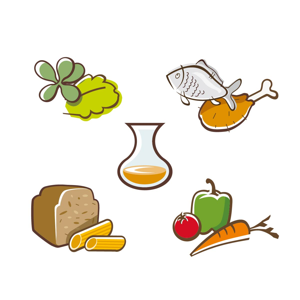 Symbole Icons Vectorstyle Salat Fisch Brot Gemüse Nudeln Saft Speisekarte