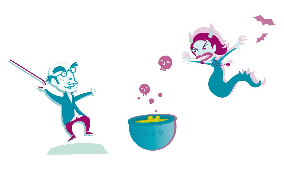 Zauberkessel, Hexe, Fledermaus, Mann, Spuk Illustrator Zeichnung weissraum