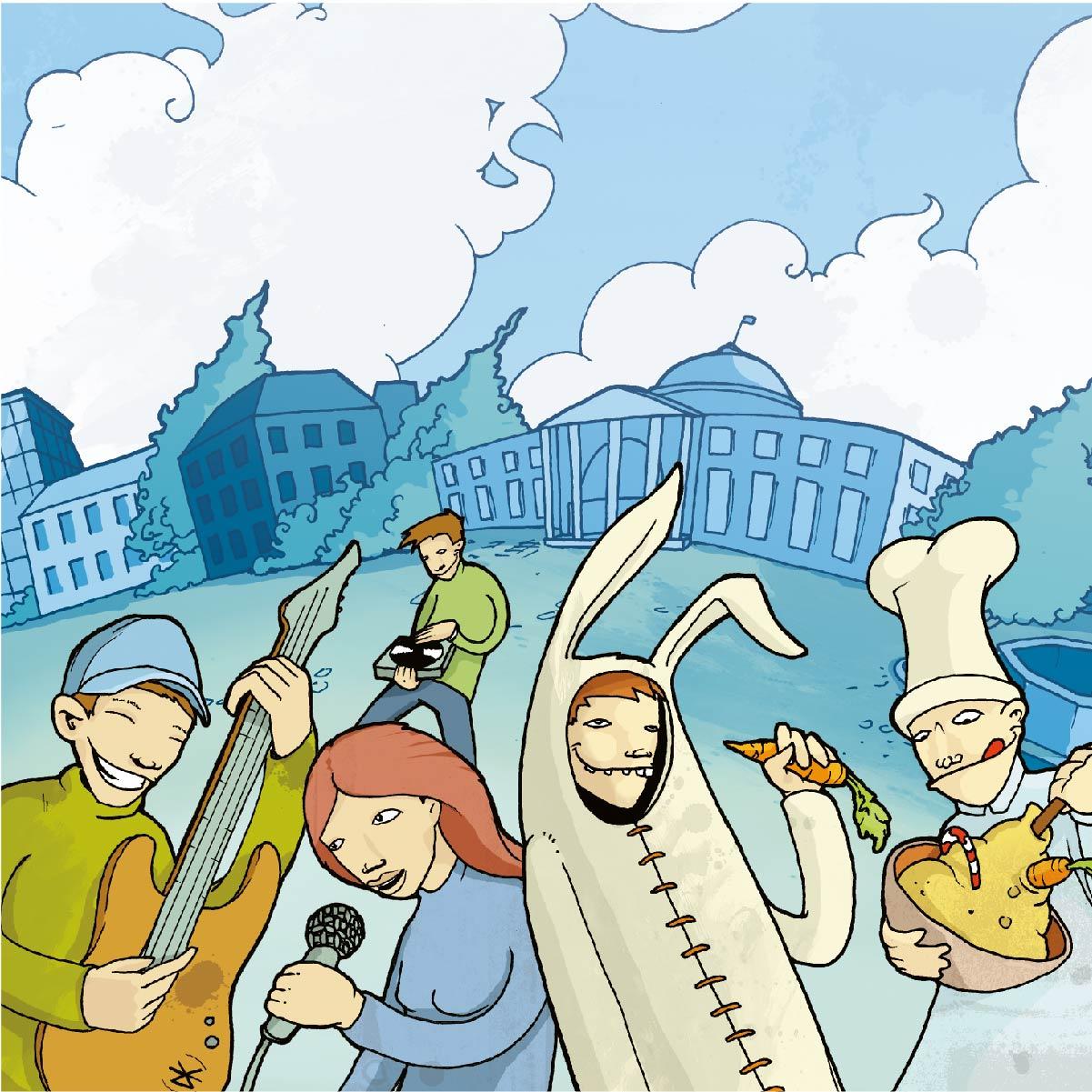 Comic Style, Teenager, Pubertät, Freizeit, Handzeichnung coloriert unangepasst Wiesbaden Kurhaus Verkleidung Outlines