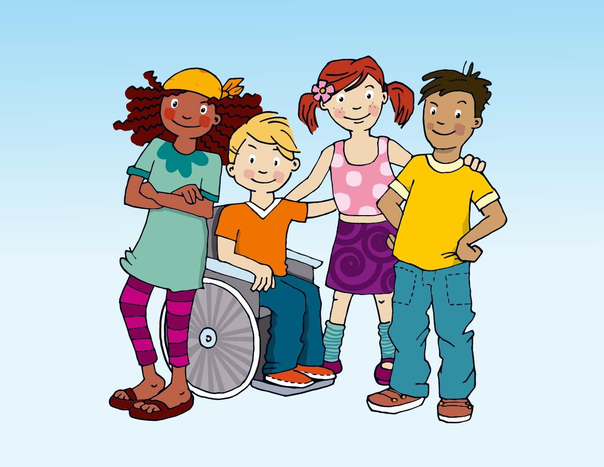 Strichzeichnung coloriert Gruppe von Kindern sozial Inklusion Platz der Kinder Recht