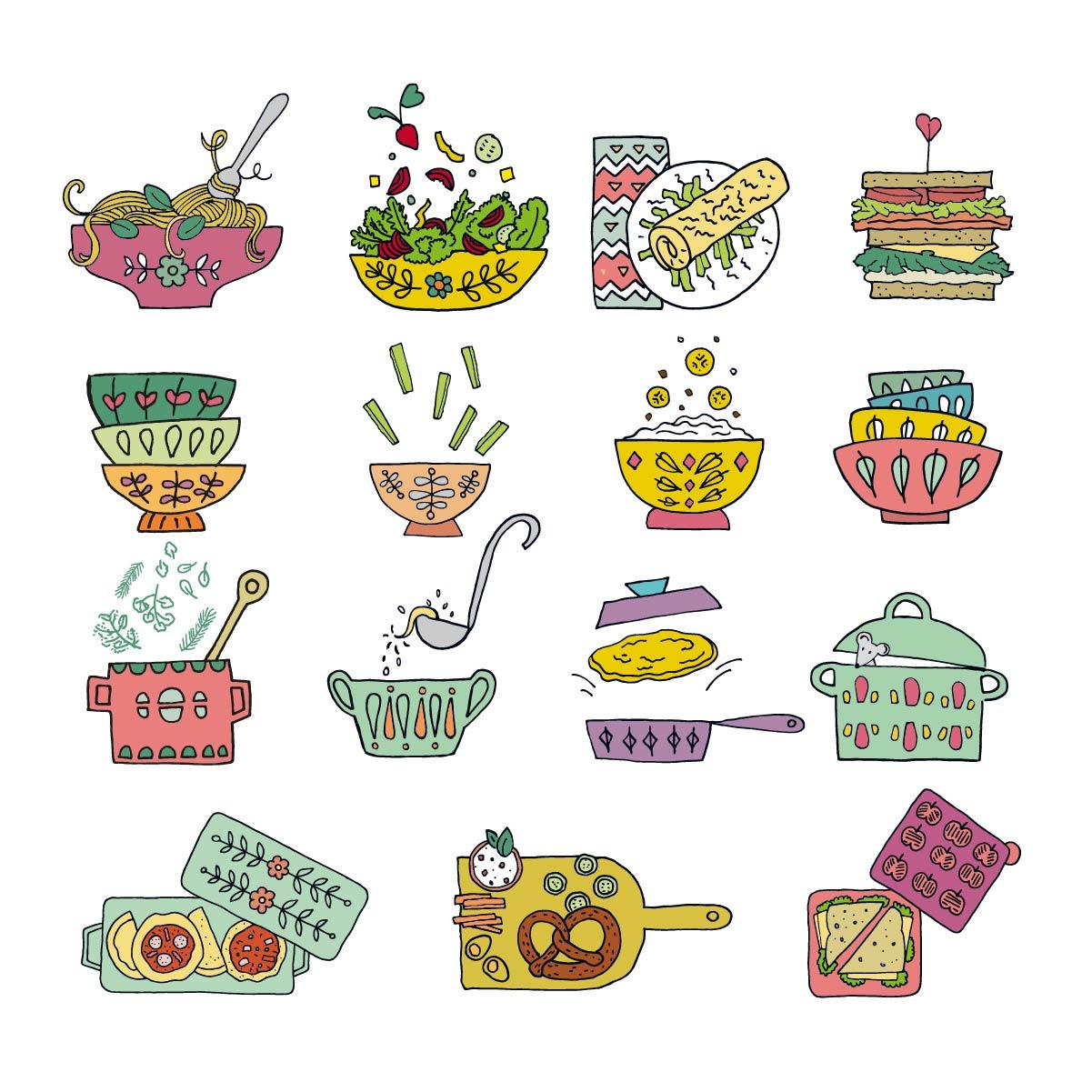 Hanbdzeichnung coloriert Speisen Mittagessen Kochen mit Kindern Wiesbaden