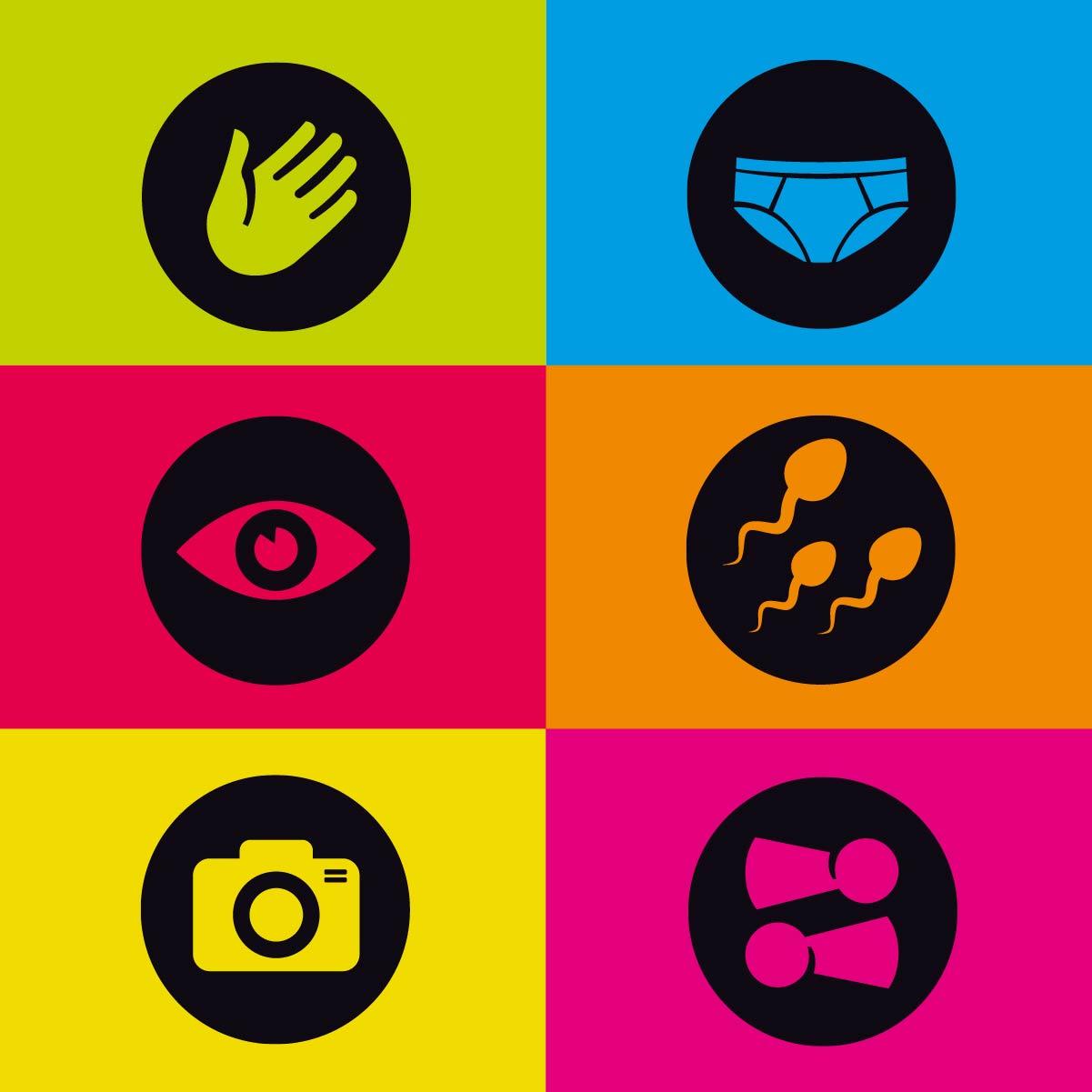 Icons für profamilia Sex-Quiz Online-Spiel Vektorgrafik Piktogramm