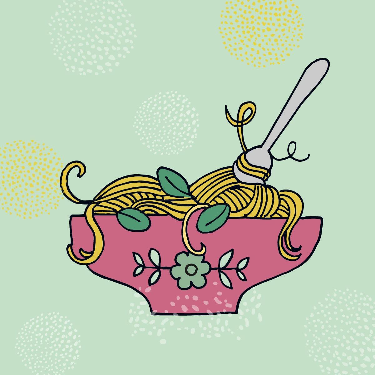 Illustrationen Spaghetti Kochbuch für Kinder Stadt Wiesbaden Comicstil