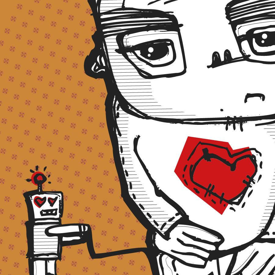 Roboter Mensch Herz Scribble Fernsteuerung digital Gefühl