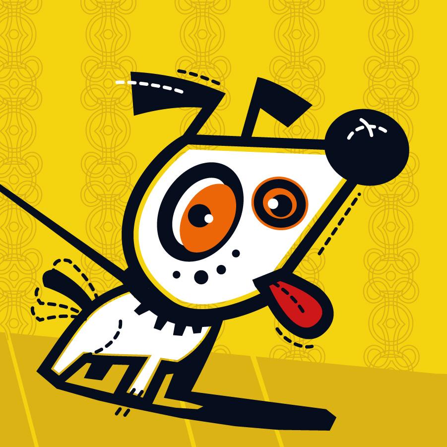 Hund Leine lustig Vektor-Stil schräg