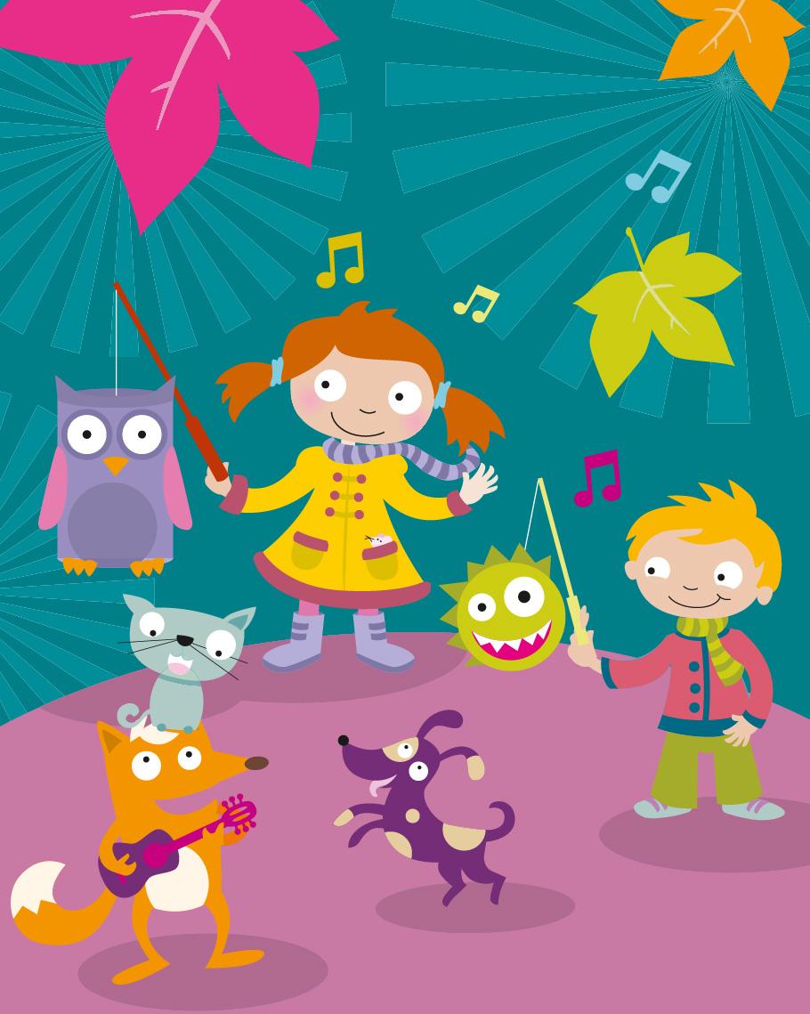KITA Kinder Lichter Plakat Fest Tiere flächig Vektor