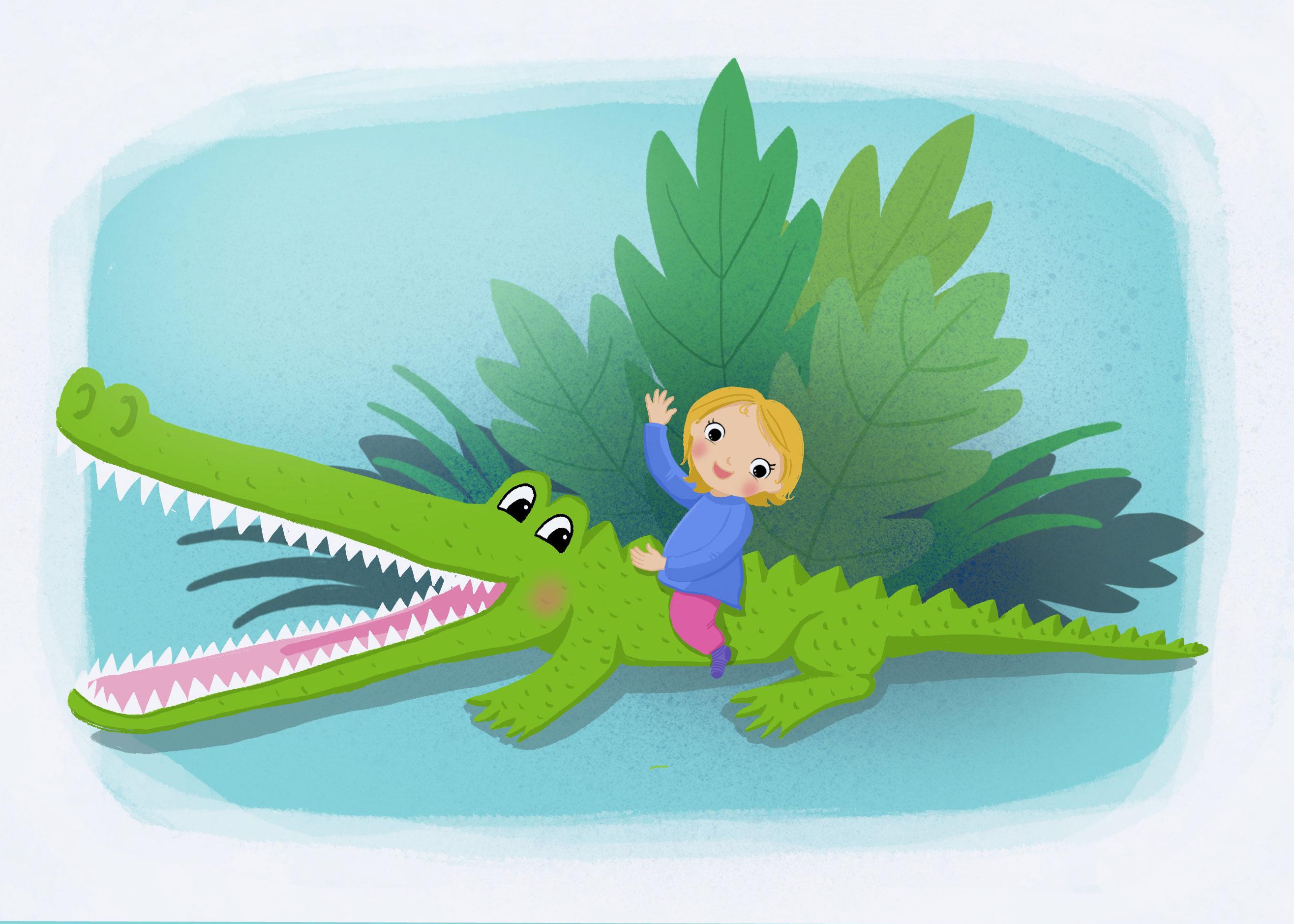 Krokodil, Mädchen, Kinder, Illustration
