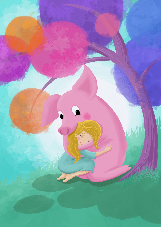 Schwein, Ferkel, Mädchen, Umarmung, Illustration, Kinderbuch