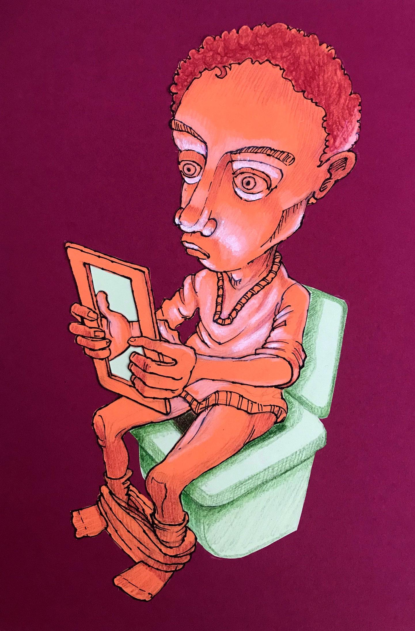 Zeichnung, Polychromos, Selbstporträt, Voodoo, Toilette